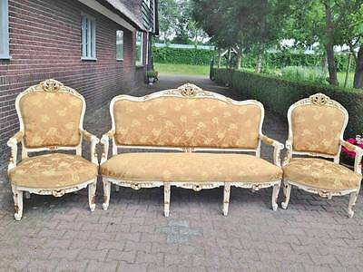 ANTIQUE FRENCH LOUIS XVI COMPLETE LIVING ROOM/SOFA SET WTH 2 CHAIRS