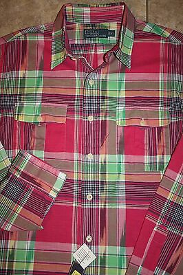 REDUCED!! NWT $145 Polo Ralph Lauren Pink Plaid L/S Shirt M L Medium Large XL