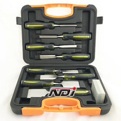 9 Piece Chisel Set In Wooden Box + Sharpening Stone Nd-0211