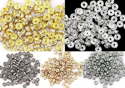 100pcs/4mm Shiny Crystal Rhinestone Paved Copper Metal Spacer Beads Finding