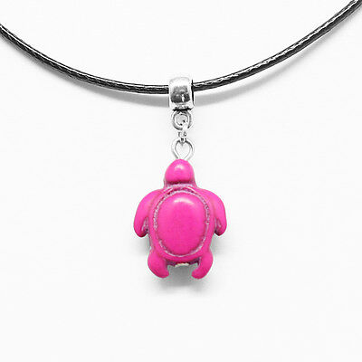 Turquoise Pink Turtle Charm Pendant Choker Necklace with Black Cord