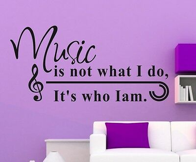 Music is not..  Wall Stickers Quote wall decal Removable sticker decor Vinyl art