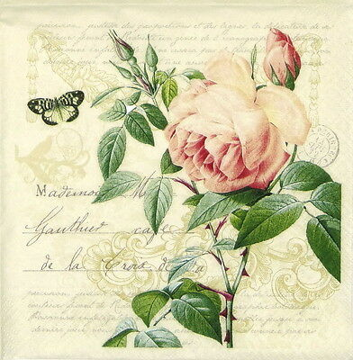 4x Paper Napkins -Vintage Rose Botanical- for Party, Decoupage Craft