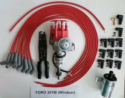 FORD 351W Red Small Cap HEI Distributor+45K Coil+UNIVERSAL SPARK PLUG WIRE+Crimp