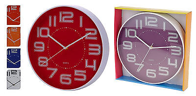 Large 35cm Contemporary Wall Clock Kitchen Clock Choice of 6 Modern Dial Colours