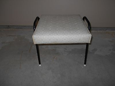 Mid Century White Vinyl Foot Stool With Metal Ends