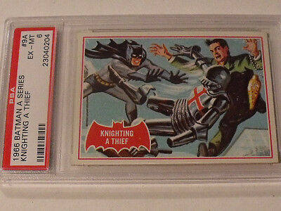 "1966 Topps BATMAN (A Series) Red Bat  #9A ""Knighting A Thief"" - PSA 6 EX-MT Rare"
