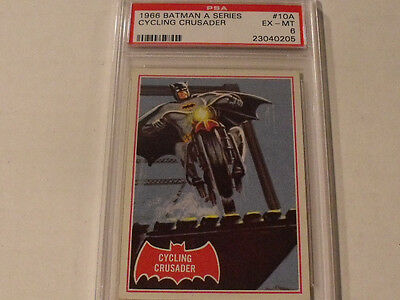 "1966 Topps BATMAN (A Series) Red Bat  #10A ""Cycling Crusader"" - PSA 6 EX-MT Rare"