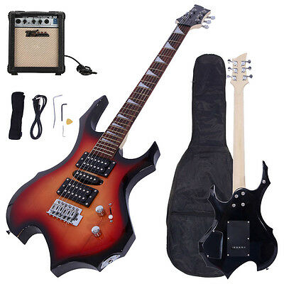 New Rock 6-String Sunset Electric Guitar w/ 10W AMP+Gigbag +Strap +Cord +Pick