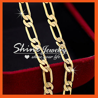 18K 18Ct Yellow Gold Gf Figaro Curb Rings Links Chain Womens Solid Necklace 45Cm
