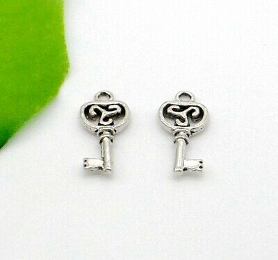 Free 100pcs Antique Silver Key Charms Pendants for Jewelry Making Craft 15x7mm