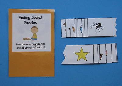 Teacher Made Literacy Center Educational Resource Game Ending Sound Puzzles
