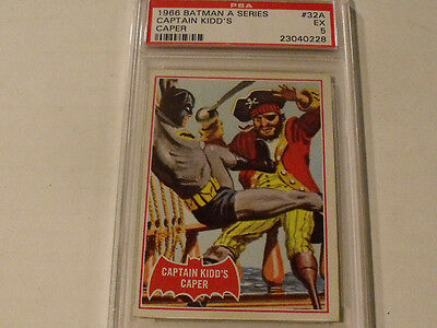 "1966 Topps BATMAN (A Series) Red Bat  #32A ""Captain Kidd's Caper""  PSA 5 EX Rare"