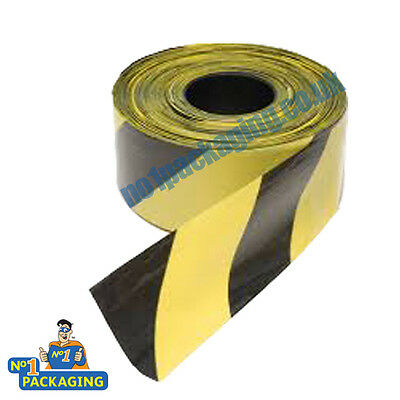 1 Roll Black/Yellow Non Adhesive Hazard Warning Barrier Tape 72mm x 500m