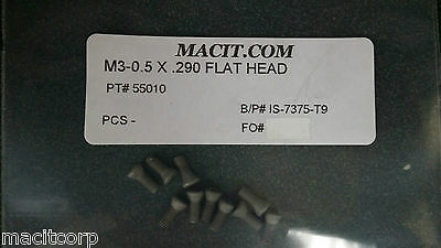 INSERT SCREW  M3 x .5  x .290 LONG    10 pcs New  Made USA   Free Shipping