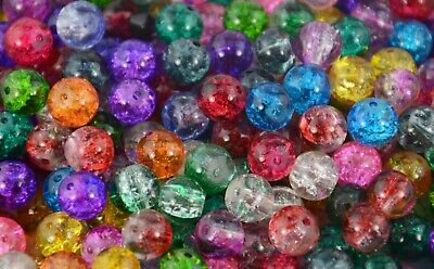 Jewellery Making Craft Round Crackle Glass Beads BUY ONE PACK GET ONE PACK FREE!
