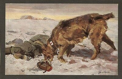 German Postcard:  Red Cross Dog - Sanitatshund - Finding Wounded Soldier In Snow