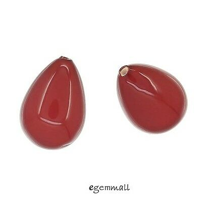 4 Shell Pearl Teardrop Drop Half Top Drilled Beads 10x14mm Coral Red #75136