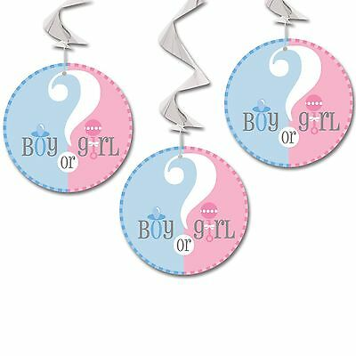 3 Boy Or Girl Baby Shower Gender Reveal Party Hanging Swirl card Decorations