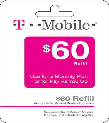 T-Mobile $60 Refill FASTEST REFILL card Credit applied DIRECTLY to PHONE Prepaid