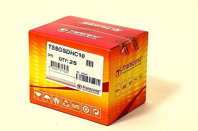 25 of Transcend 8 GB 8GB 8G SD SDHC Class 10 Memory Card - Brand New Sealed