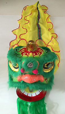 "13"" Chinese New Year Lion Dragon Head Dance Performance Green"