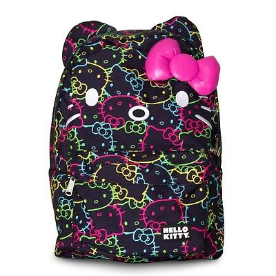 NWT Loungefly Hello Kitty Neon All Over Backpack w/Ears & Plush Pink 3D Bow