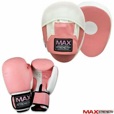 Ladies Boxing Focus Pink Pad Set Hook and Jab Punch Training Sparring Bag Gloves