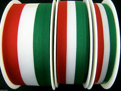 Green, White & Red Italian National Patriotic Tricolor Ribbon Red White Green