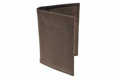 Genuine Leather Passport Cover Case Mens Womens Embossed Front 3 Card Slots New