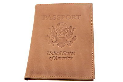 Men Women Passport Cover Genuine Leather Embossed USA ID Holder 6 Card Slots