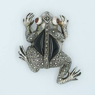 Sterling Silver Small Crystals Frog Toad Pin Brooch Antique