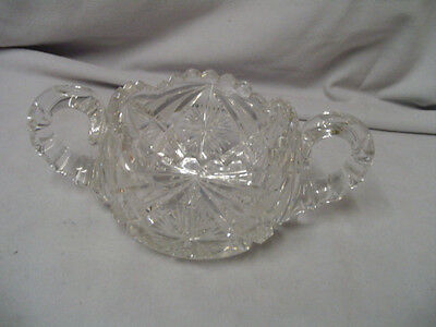 "Cut Glass Sugar Bowl Is Heavy 2.75"" Tall 3.5"" Across Top Vintage"
