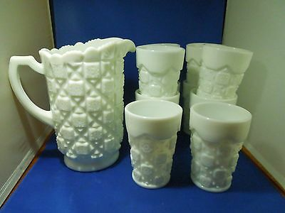 Vintage Westmoreland Milk Glass Pitcher & 10 Tumblers Glasses Old Quilt Pattern