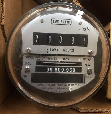 LANDIS & GYR, L&G, WATTHOUR METER (KWH) MX or MS II, 240V, FM2S, 200A, EZ READ
