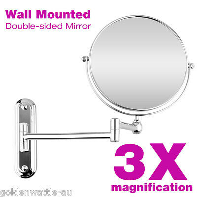 Beauty Wall Mounted Bathroom Double Side 3x Magnifying Makeup Cosmetic Mirror