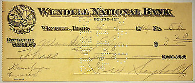 Vintage Bank Cheque - 1944 - Wendell National Bank - Idaho, United States