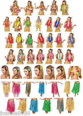Adults Kids Hawaiian Novelty Fancy Dress Costume Accessories Hula Luau Zulu Lot