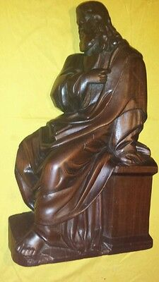Antique Wood (Mahogany) Carved Figure : Classical Christ Religious 29 ''  1800s