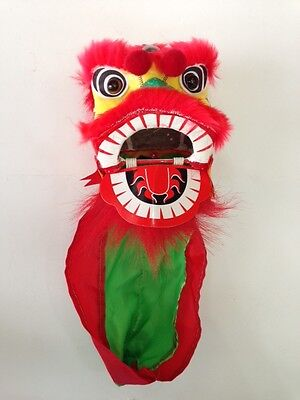 """4"""" Mini Chinese New Year Lion Dragon Head Dance Decoration Performance Show Red"""