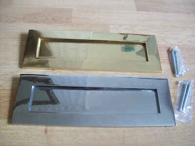 """12"""" x 4"""" HEAVY SPRUNG SOLID BRASS LARGE LETTER BOX POSTAL PLATE COVER VICTORIAN"""