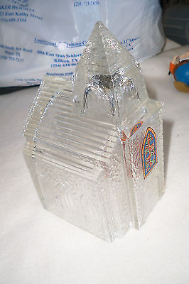 "6"" Tall Textured Clear Glass Church Figure With Stained Glass Window"