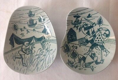 2 Nymolle Art Faience Nut Dishes Hoyrup Mid Century Danish Limited Ed 413a