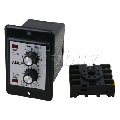 DC 12V Delay Timer Repeat Cycle Time Relay Range 0-6s Panel Installation