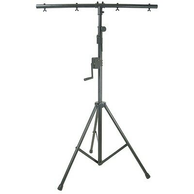 QTX Heavy Duty Lightweight Winch T-Bar Tripod DJ PA Disco Band Lighting Stand