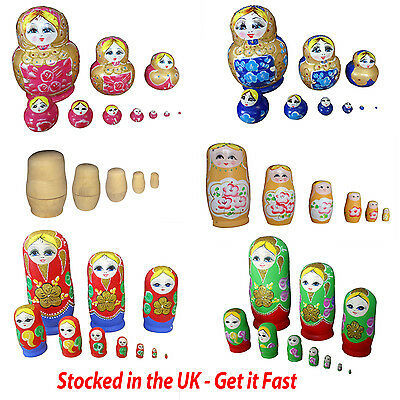 Wooden Russian Nesting Babushka Matryoshka 5 Dolls Set Hand Painted Round 12 cm