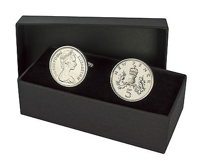 5P Coins Cufflinks 5 Pence Perfect Birthday Present Choice Fo Year 1968-1989