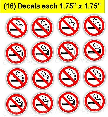 16 NO SMOKING  1.75 EA. DECAL STICKERS. UV EXT or INT USE ON WHITE - LYFT  UNBER