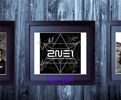 2NE1 Crush Band SIGNED AUTOGRAPHED FRAMED 10X8 REPRO PHOTO PRINT CL Bom Minzy
