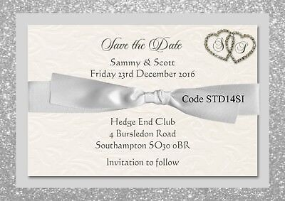 Engagement Party Invitation Save The Date Card with Ring Charm Personalised